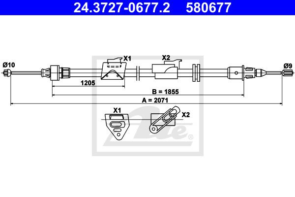 Käsijarruvaijeri ATE 24.3727-0677.2