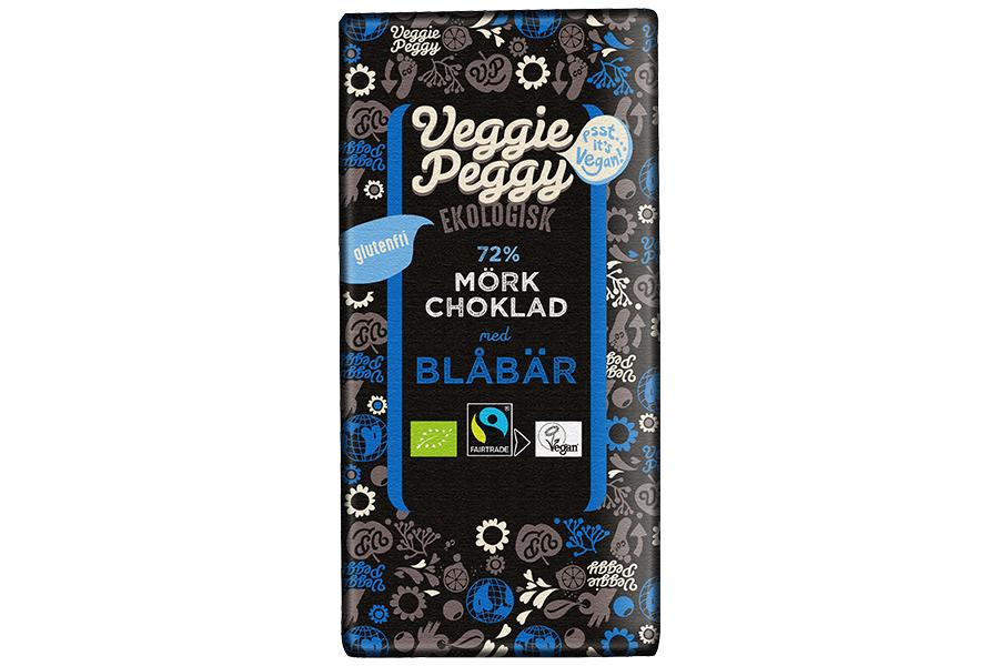 Veggie Peggy Mörk Choklad - Blåbär 85g