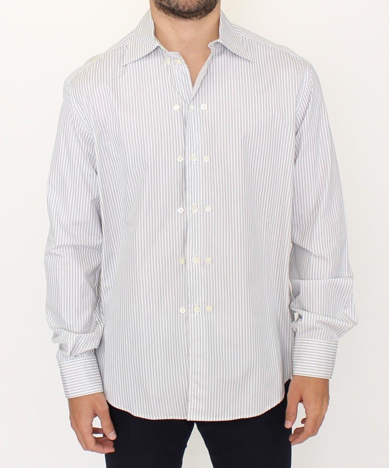 Ermanno Scervino Men's Striped Regular Fit Shirt White SIG10176 - IT50   L