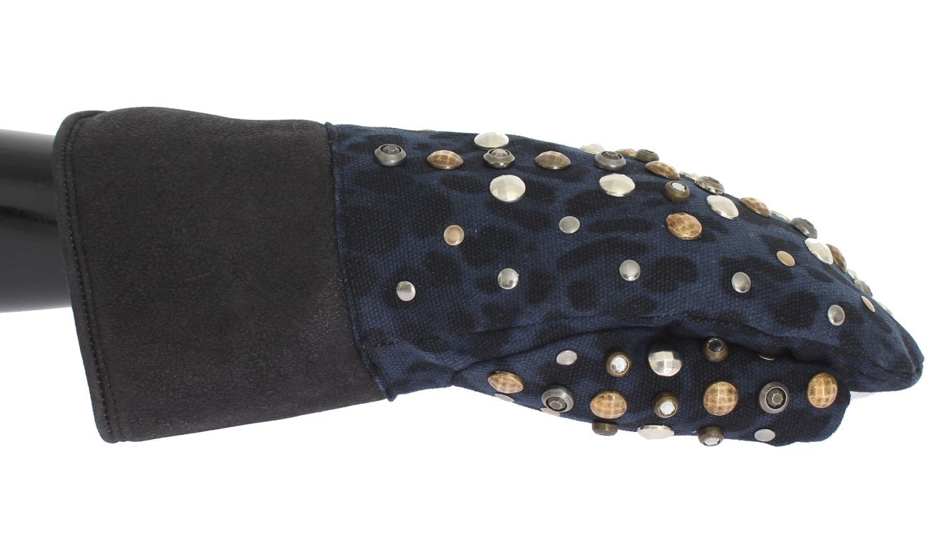 Dolce & Gabbana Men's Wool Shearling Studded Leopard Gloves Gray LB132 - 9 M