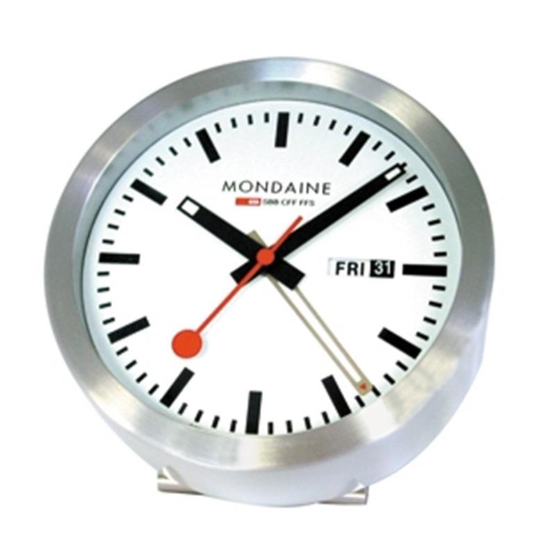 Mondaine Round Mini Clock With Alarm MON055