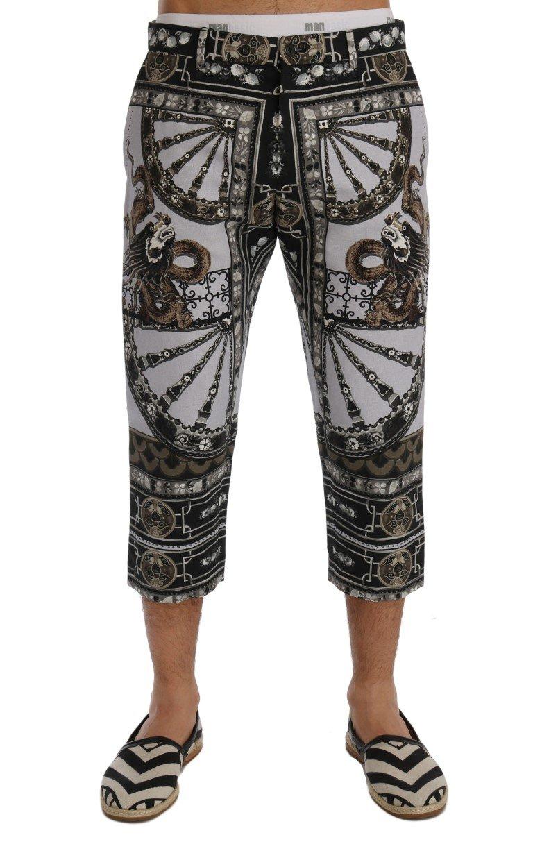 Dolce & Gabbana Men's Dragon Print Capri Trouser Multicolor SIG60400 - IT46   S