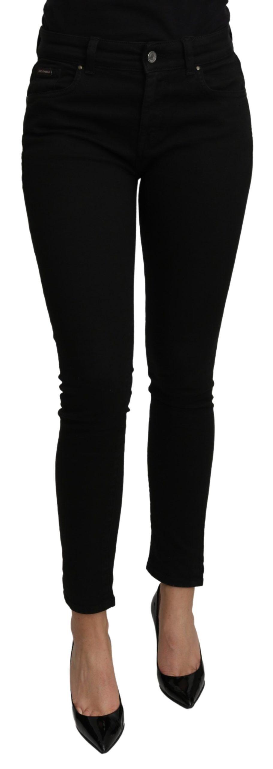 Dolce & Gabbana Women's Skinny Mid Waist Cotton Jeans Black PAN70977 - IT38|XS