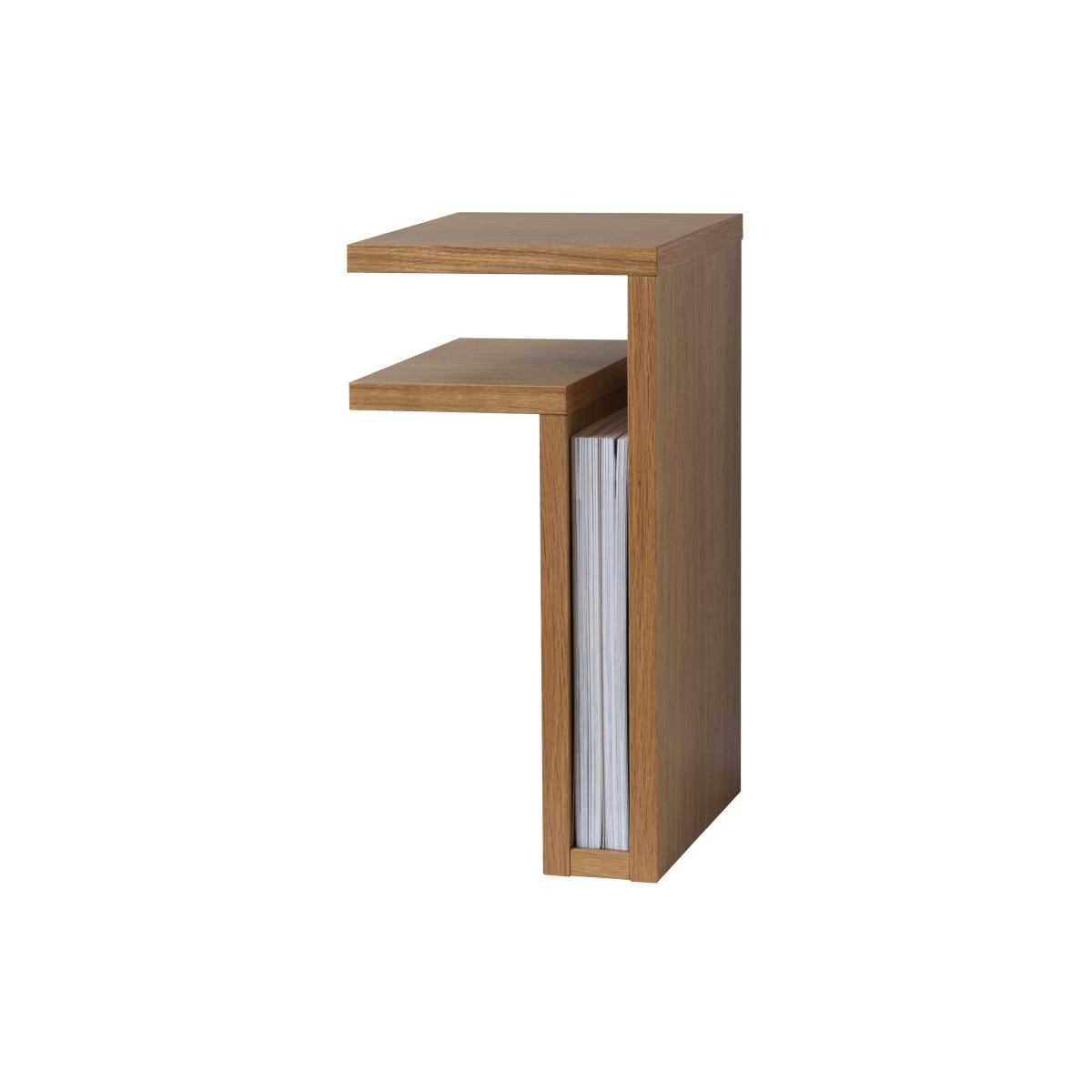 Vägghängt sängbord F-shelf ek vänster, Maze