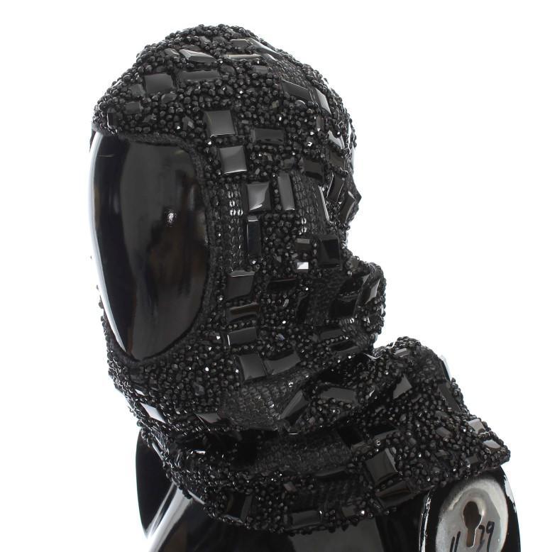 Dolce & Gabbana Women's Crystal Glass Sequin Hood Scarf Hat Black MS904