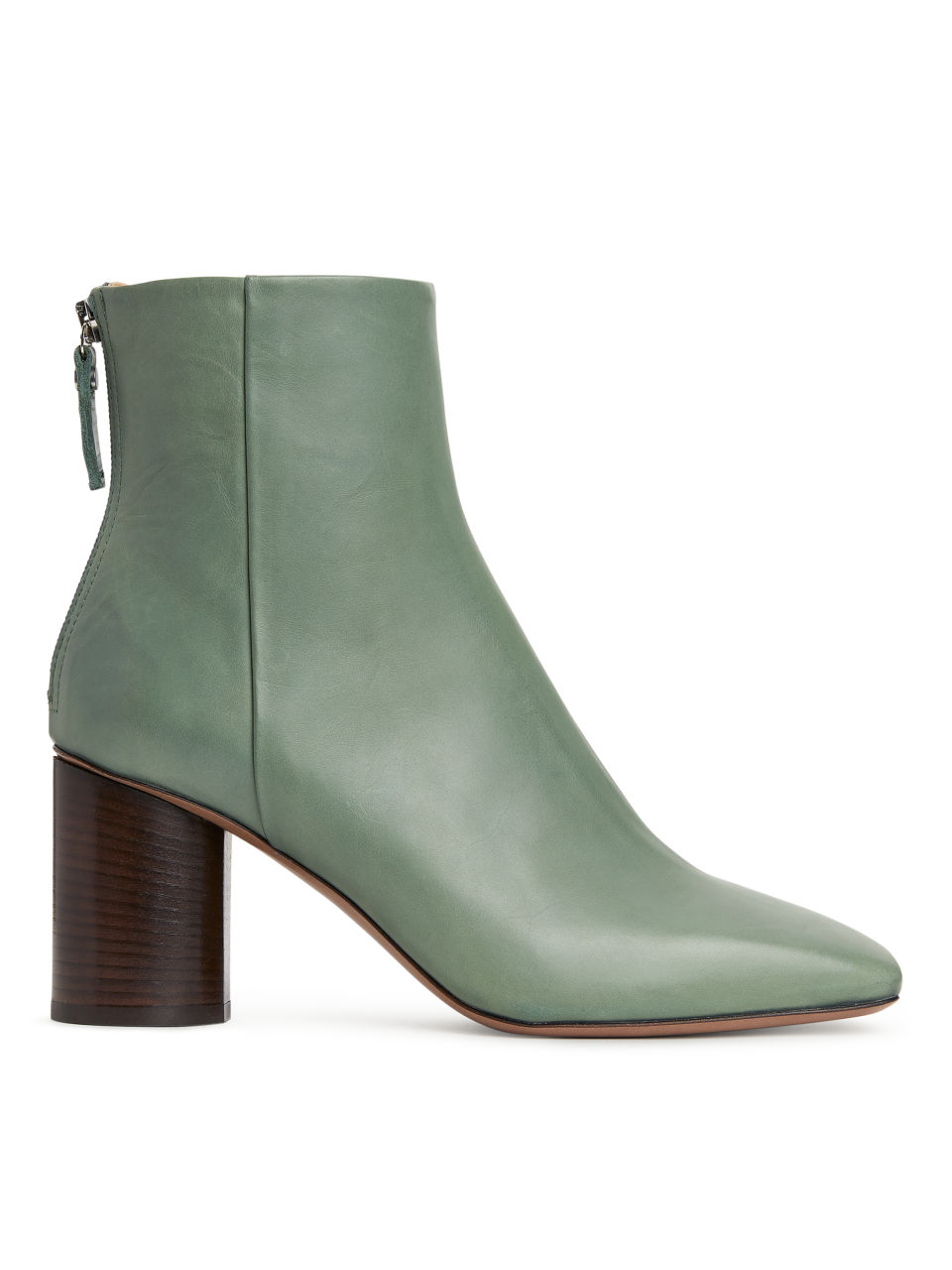 Square-Toe Leather Boots - Green