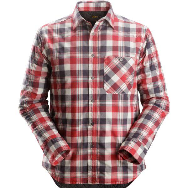 Snickers 8501 RuffWork Flanell skjorte foret, grå / rød XS