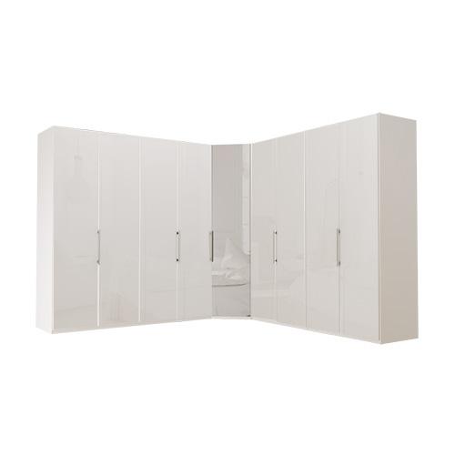 Garderobe Atlanta - Hvit 200 + hjørne + 200, 236 cm, Hvitt glass