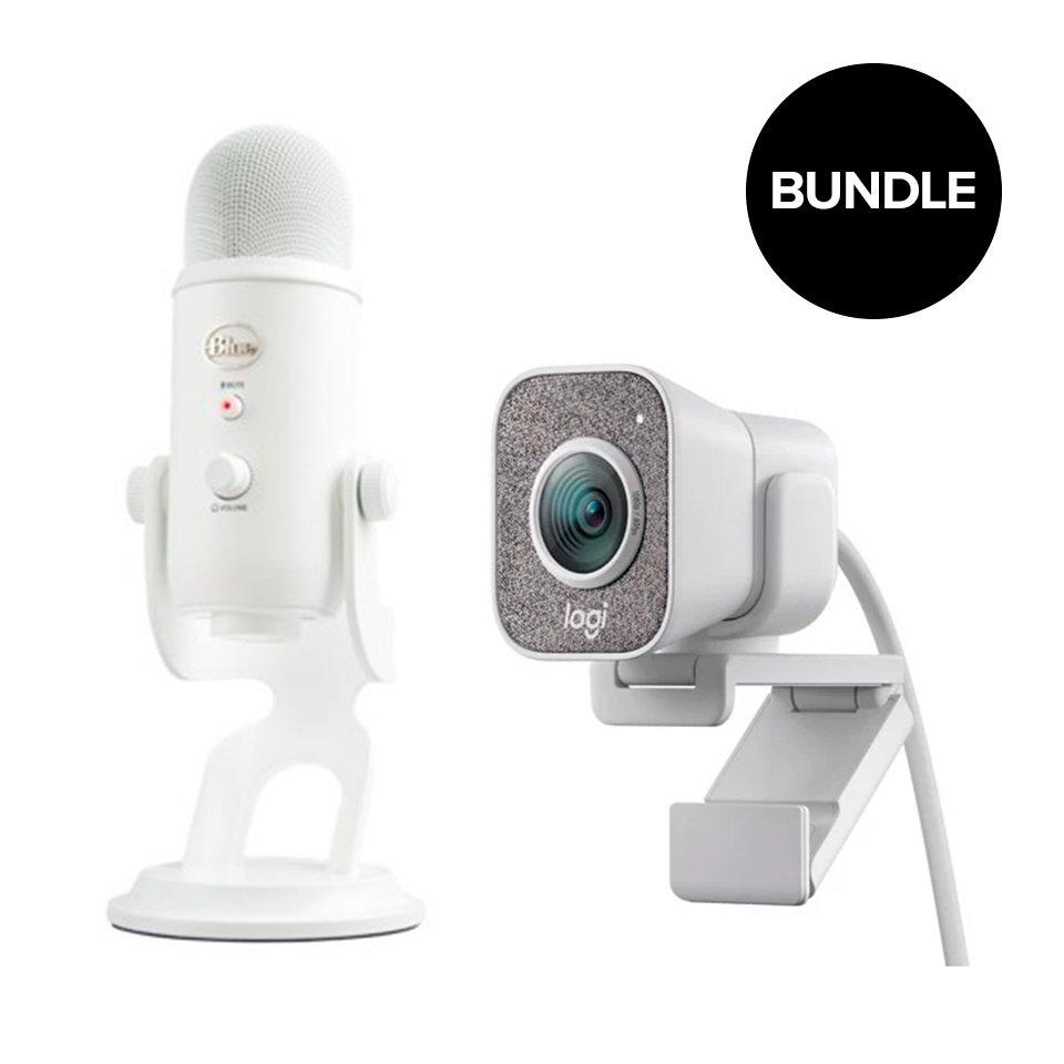 Logitech - STREAMCAM Whiteout + Blue - Yeti Whiteout Microphone - Bundle