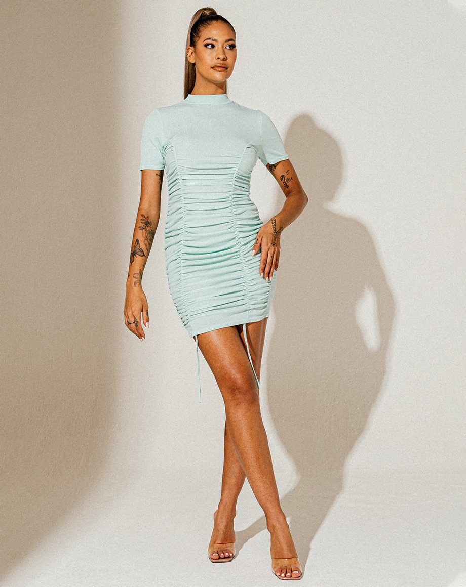 High Ribbed Ruched Dress - Mint / 12
