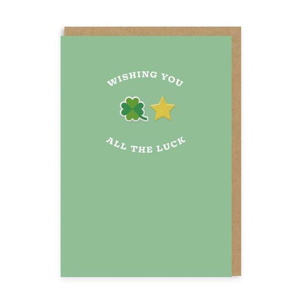 Clover & Star Good Luck Woven Patch Card