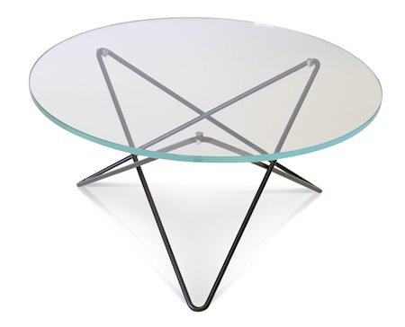 O-table glass sofabord – Clear/black
