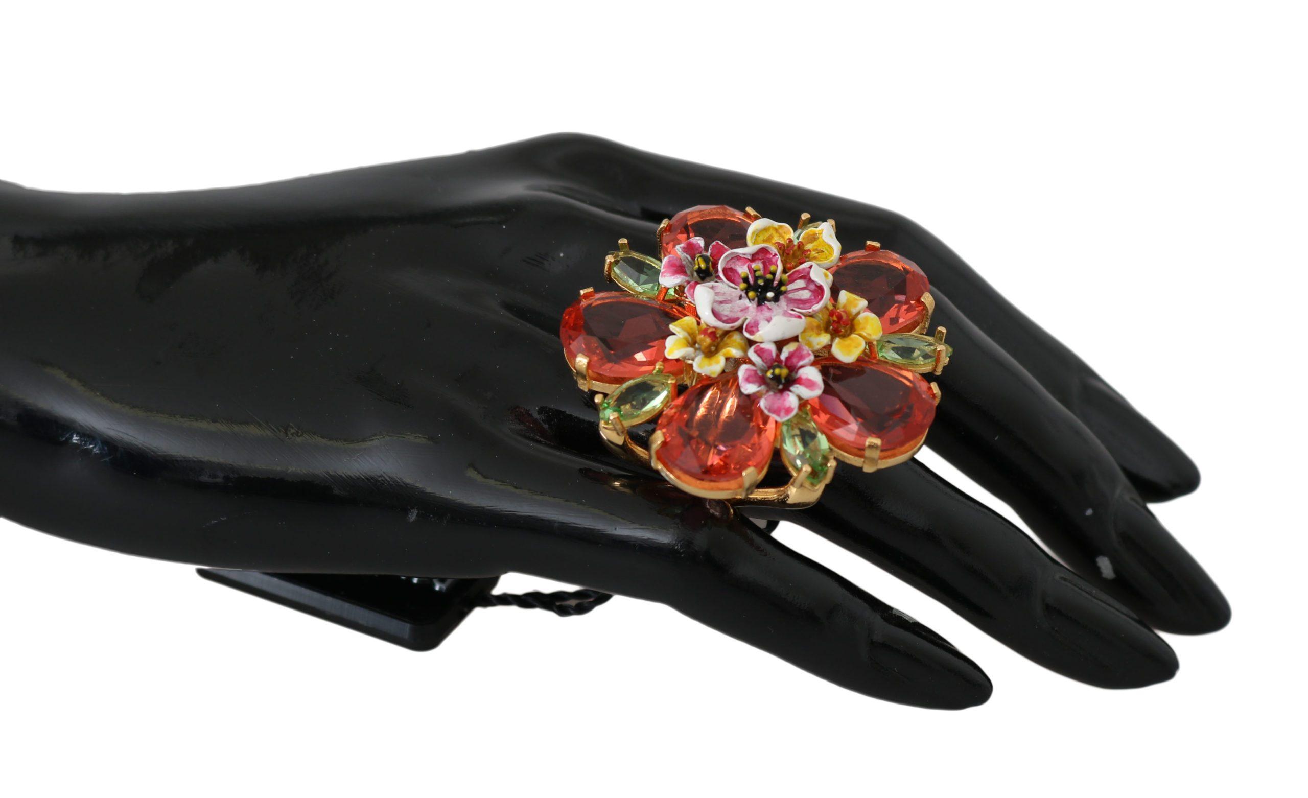 Dolce & Gabbana Women's Brass Crystal Floral Accessory Ring Orange SMY2046 - EU51 | US5,5