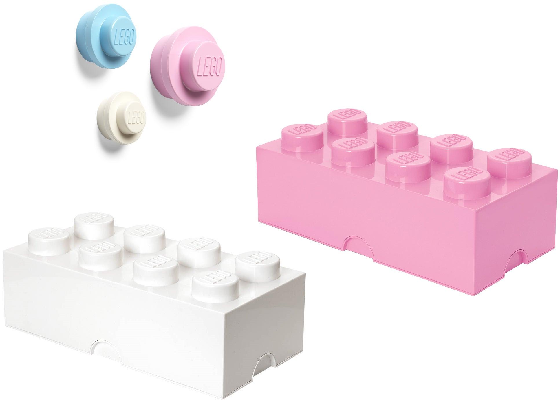 LEGO Säilytyslaatikko ja Seinäkoukku 3-pack Valkoinen/Vaaleanpunainen/Sininen