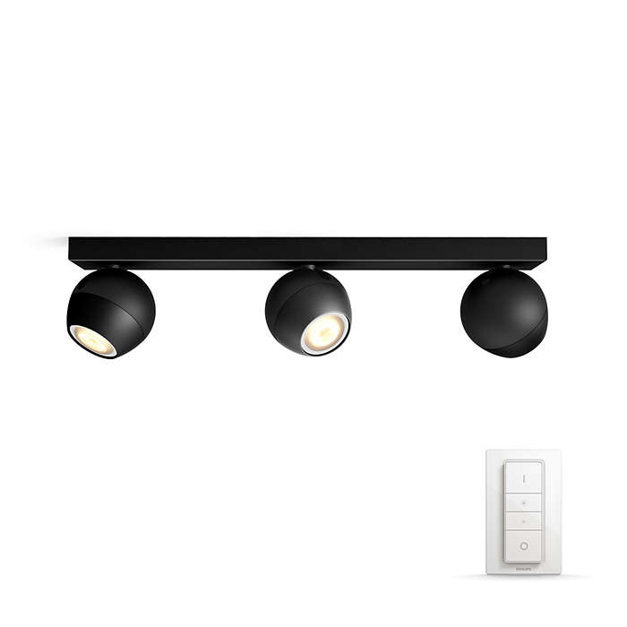 Philips Hue - Buckram 3-Spot Light Black- White Ambiance - Bluetooth Dimmer included