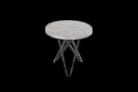 Tall Mini O Table Matt Hvit Marmor Svart Ramme Ø50