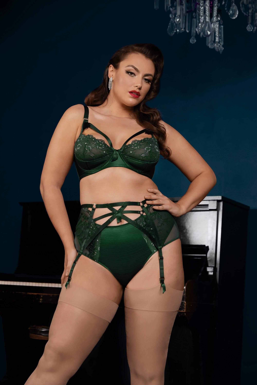 Dita Von Teese Madame X Plunge Bottle Green Curve Suspender Belt UK 18 / US 14