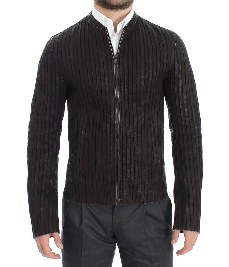 Dolce & Gabbana Men's Leather Biker Jacket Brown SIG12188 - IT48   M