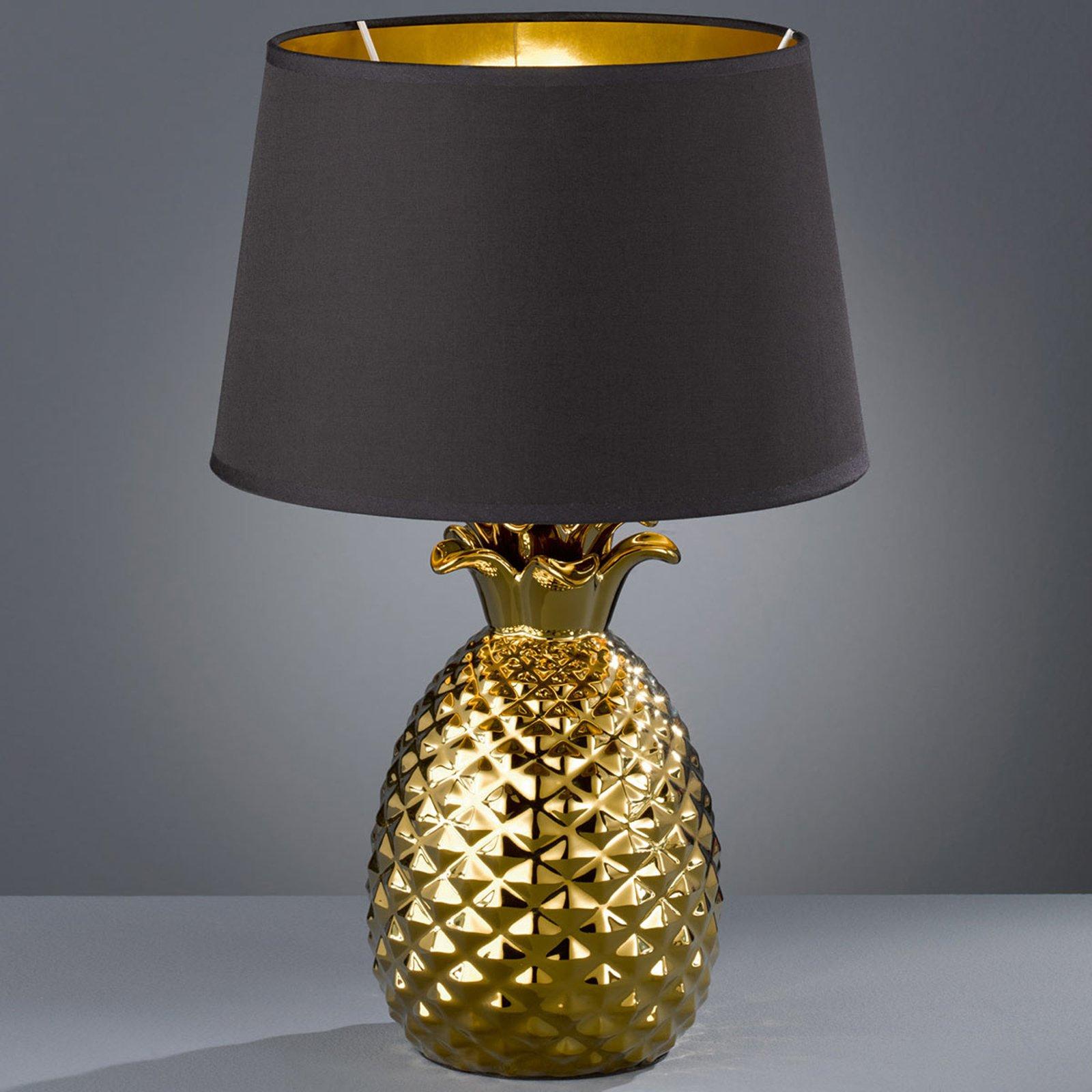 Bordlampe i tekstil Pineapple i gull, svart, 45 cm