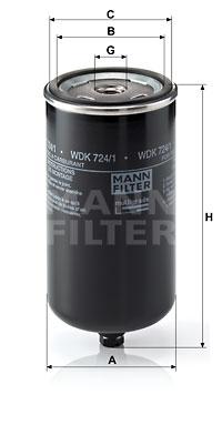 Polttoainesuodatin MANN-FILTER WDK 724/1