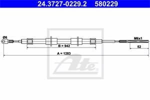 Vaijeri, käsijarru, Takana, BMW Z3 Coupé [E36], Z3 Roadster [E36], 34 40 1 166 055, 34 41 1 163 276