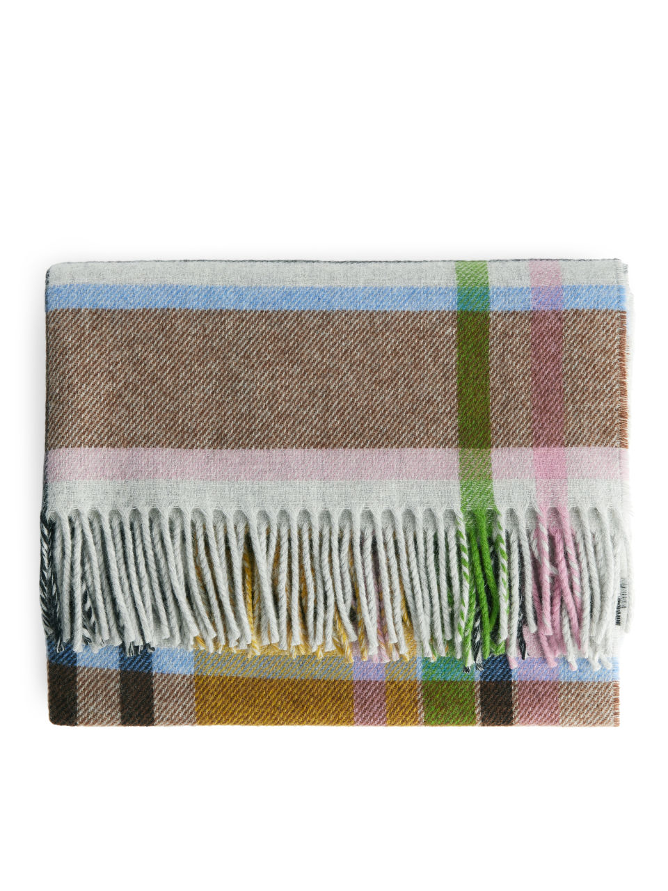 Checked Wool Scarf - Yellow