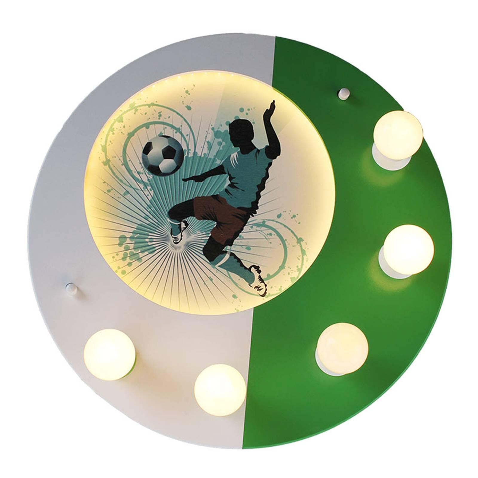 Kattovalaisin Soccer 5-lamppuinen vihreä-valkoinen