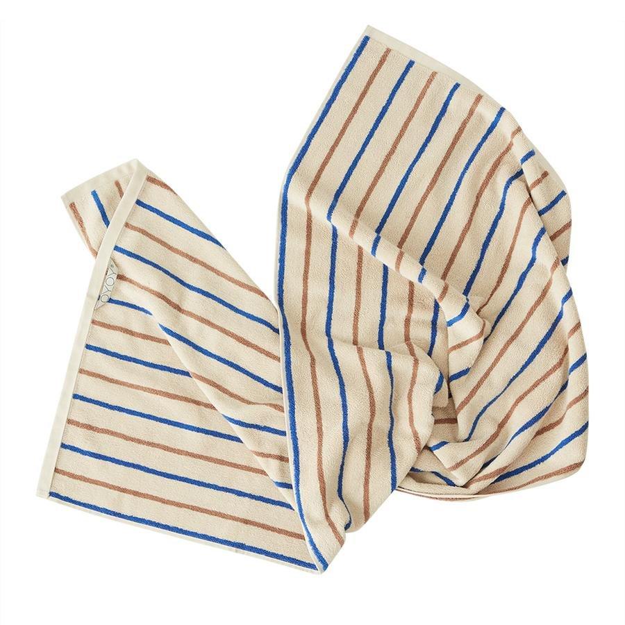 OYOY Living - Raita Organic Bath Towel - 100x150 cm - Caramel / Optic Blue