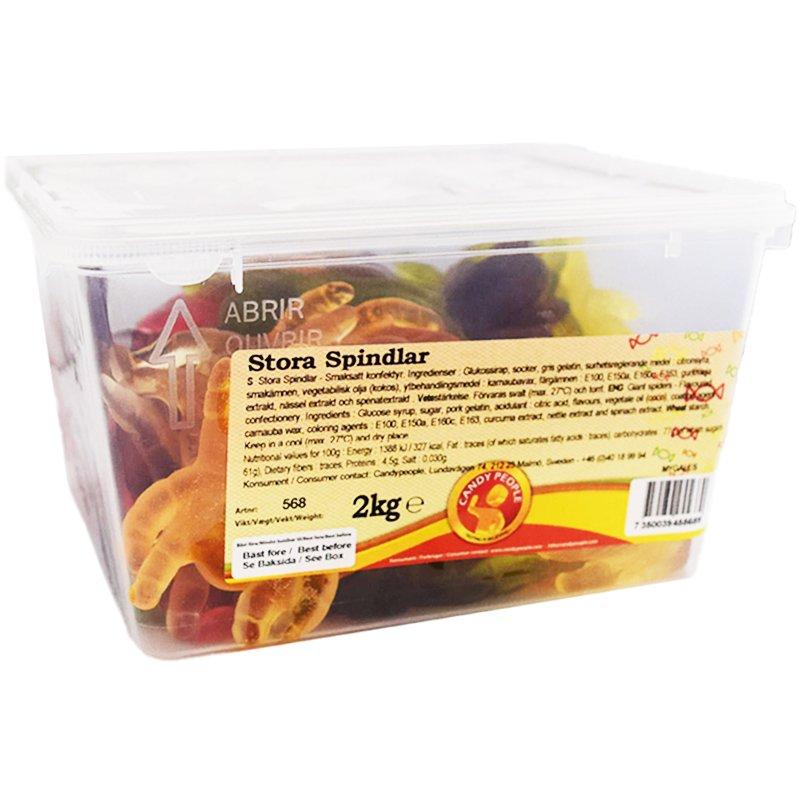 Kokonainen laatikko: Karkkihämähäkit 2kg - 62% alennus