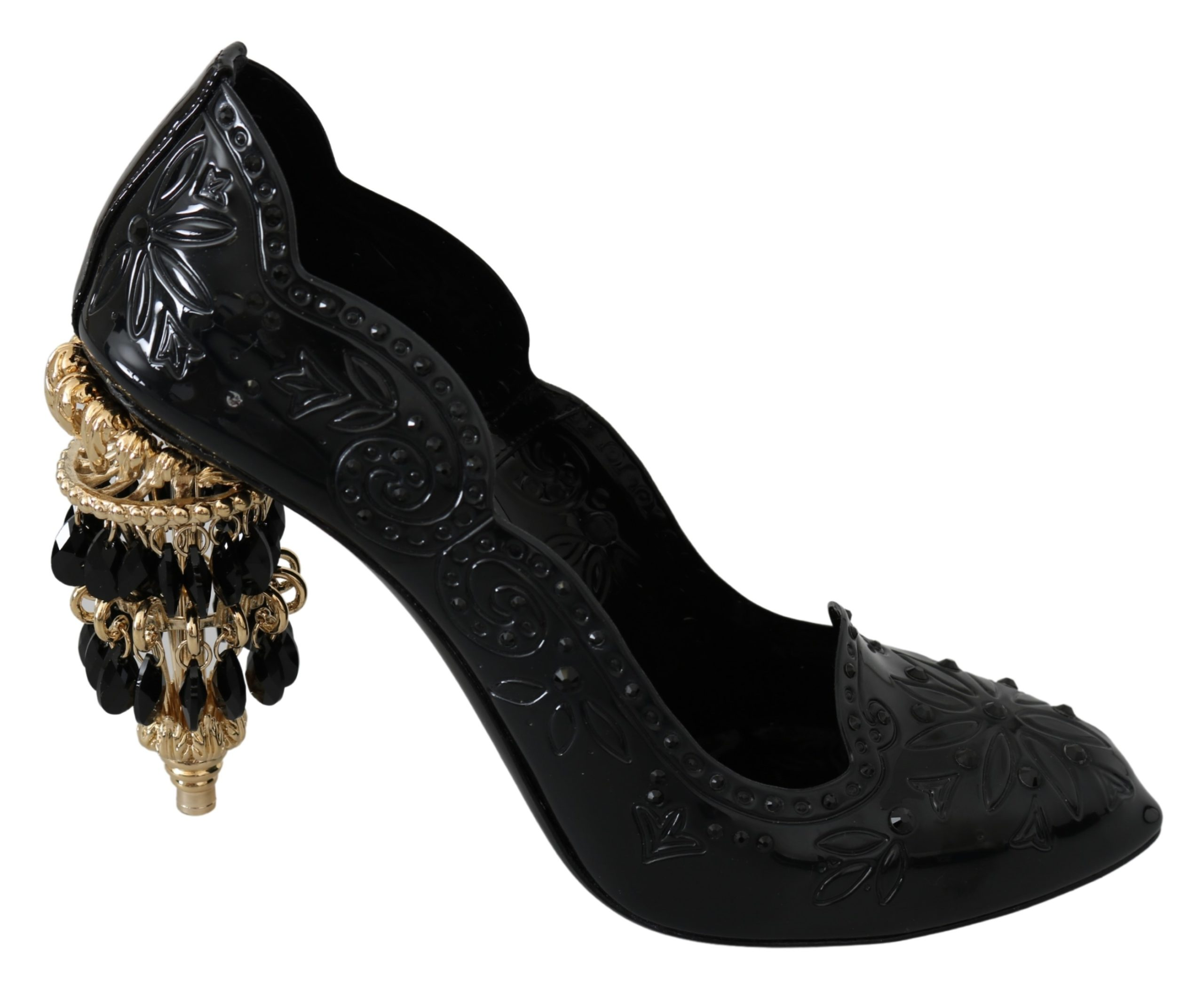 Dolce & Gabbana Women's Crystal Floral CINDERELLA Pumps Black LA7522 - EU40/US9.5