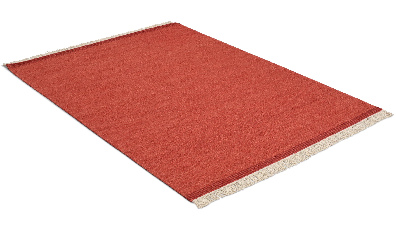 Hestra rød - håndvevd ullteppe