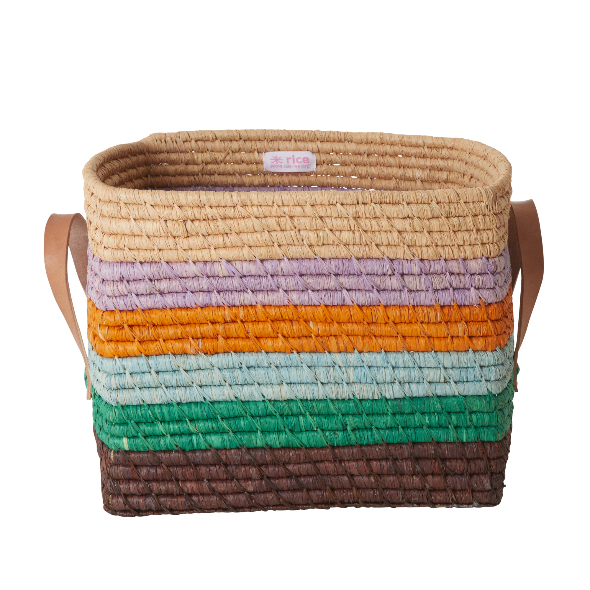 Rice - Small Square Raffia Basket with Leather Handles - Stripes The Call of The Disco Ball