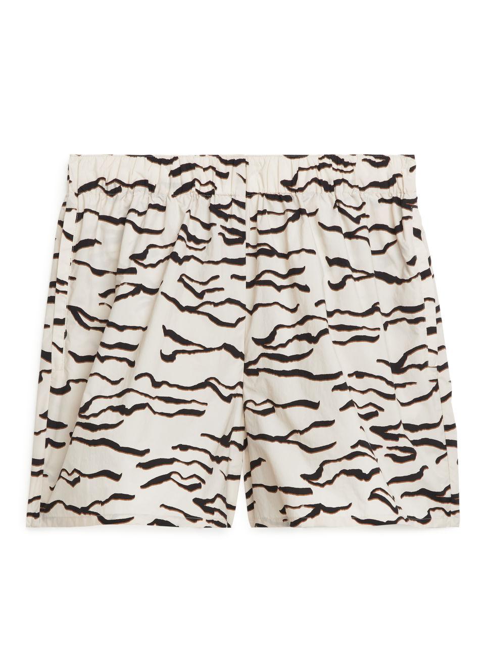 Printed Nylon Shorts - Beige