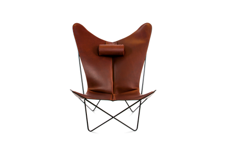 KS Fåtölj Cognac Läder & Svarta Ben
