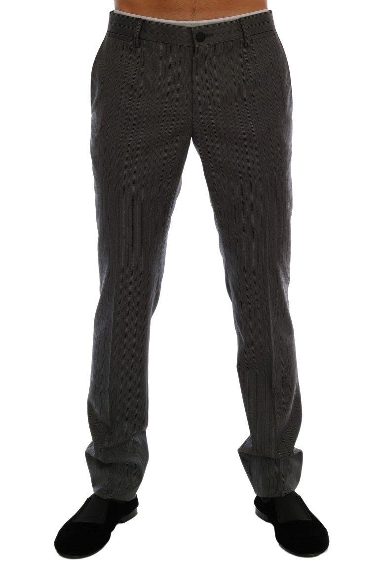 Dolce & Gabbana Men's Wool Striped Formal Pants Gray PAN60729 - IT44 | XS
