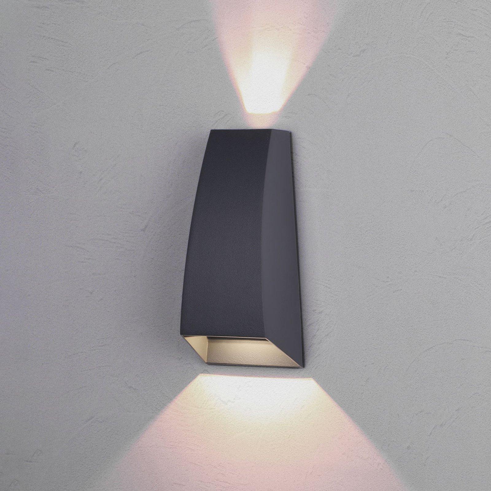 Tiana utendørs LED-vegglampe, mørkegrå