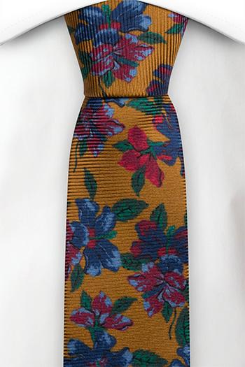 Silke Smale Slips, Sennepsgul med flerfargede blomster, Gull, Blomstrete