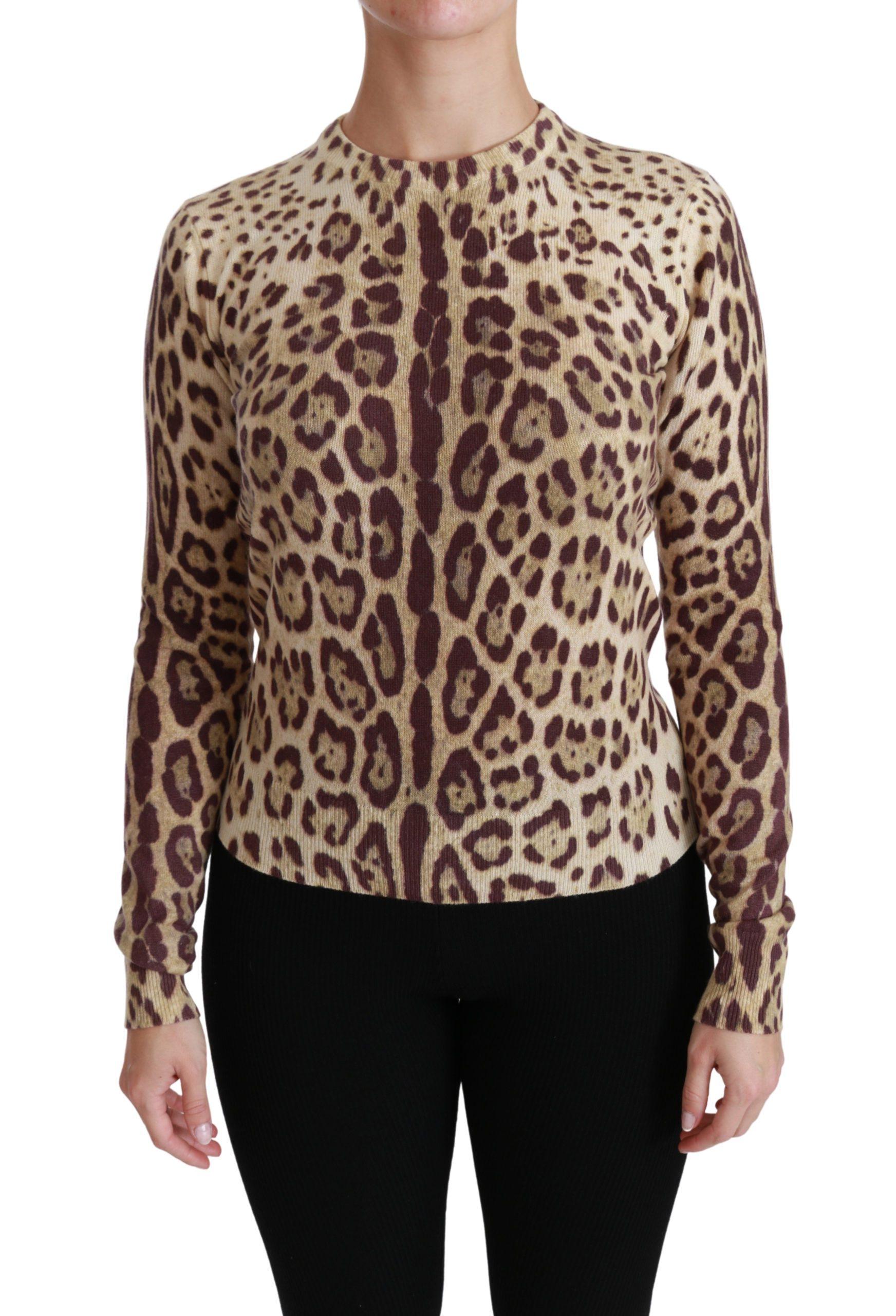 Dolce & Gabbana Women's Leopard LS Cashmere Sweater Brown TSH4426 - IT36 | XS