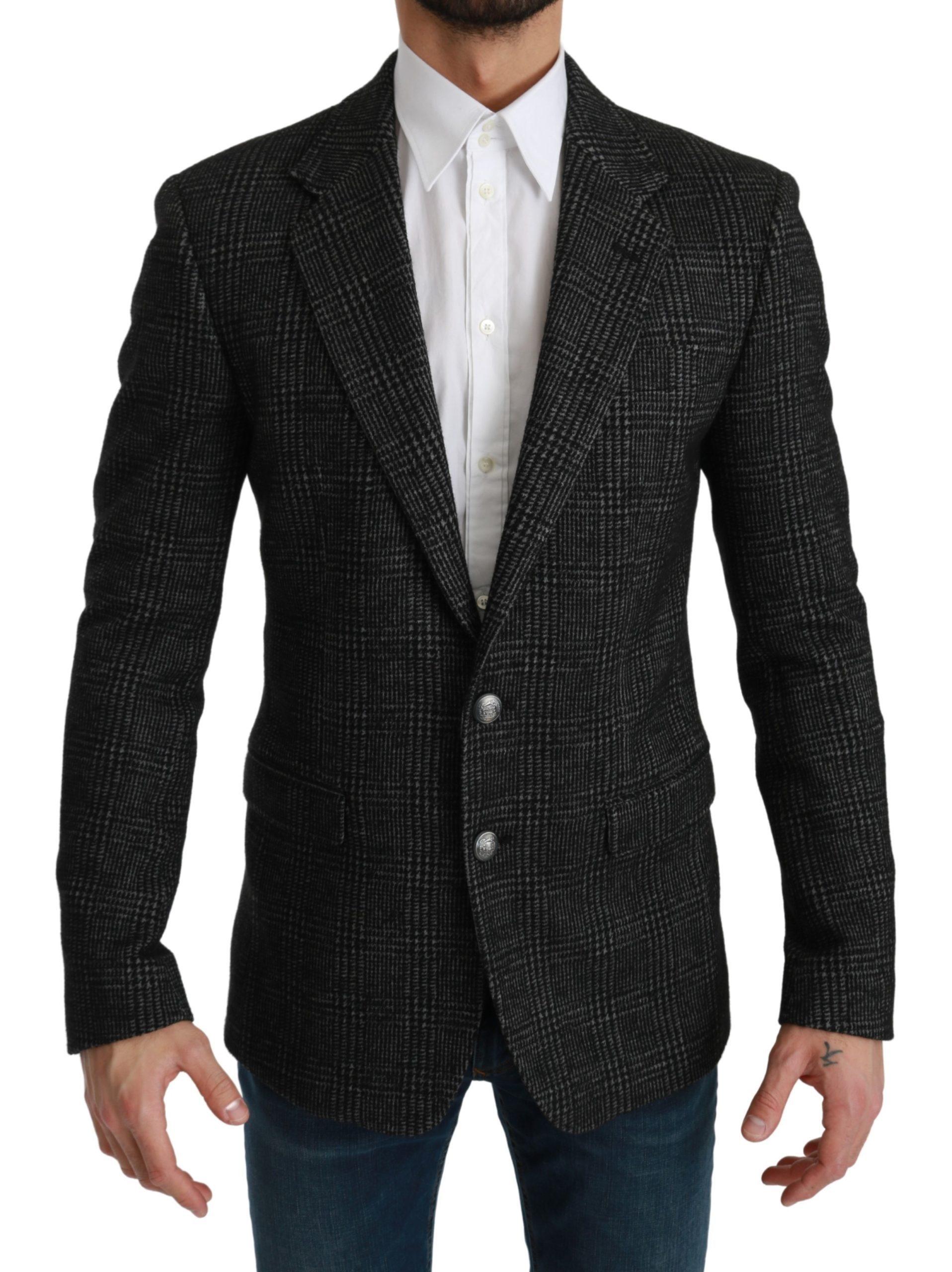Dolce & Gabbana Men's Plaid Check Slim Fit Blazer Gray KOS1778 - IT46 | S