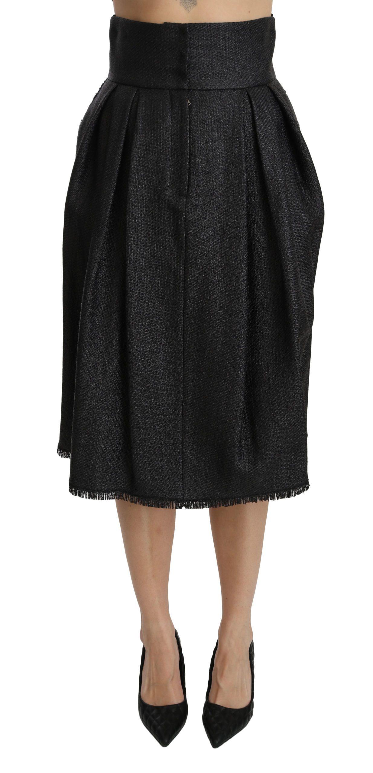 Dolce & Gabbana Women's Pleated High Waist Midi Skirt Black SKI1351 - IT40|S