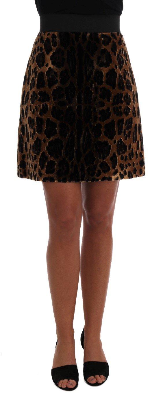 Dolce & Gabbana Women's Leopard Print Silk A-Line Skirt Brown SKI1083 - IT38 XS