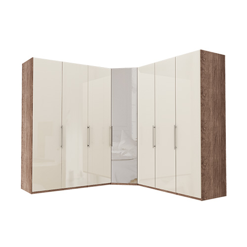 Garderobe Atlanta - Mørk rustikk eik 150 + hjørne + 150, 236 cm