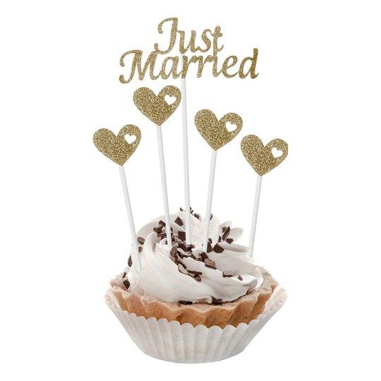 Cakepicks Just Married Guld Glitter - 5-pack
