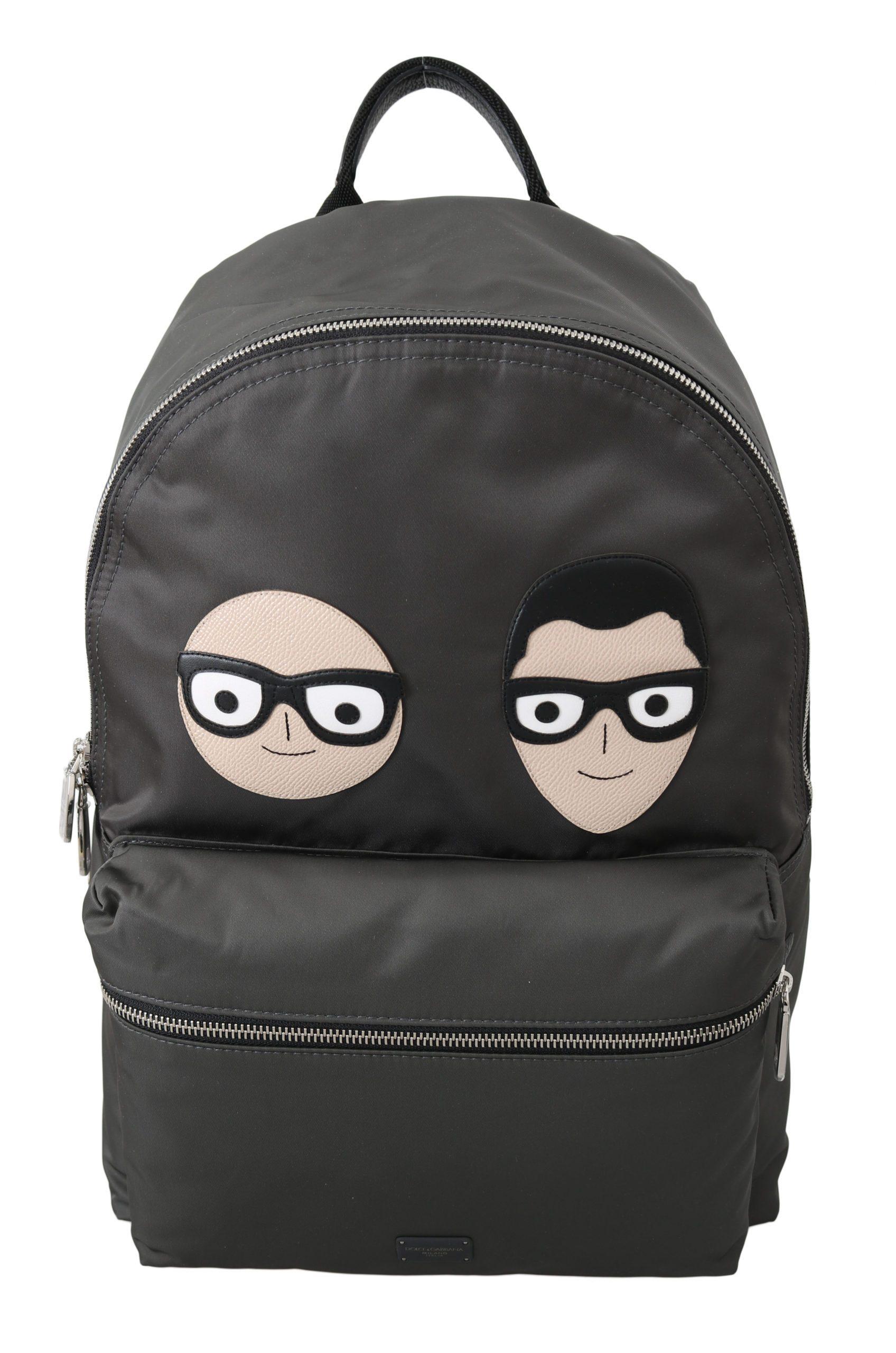 Dolce & Gabbana Men's Patch Casual School Backpack Gray VA8654