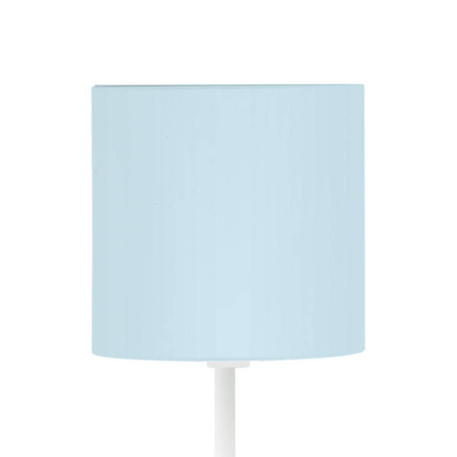 Gulvlampe Pasteri-P, hvit, tekstilskjerm lyseblå