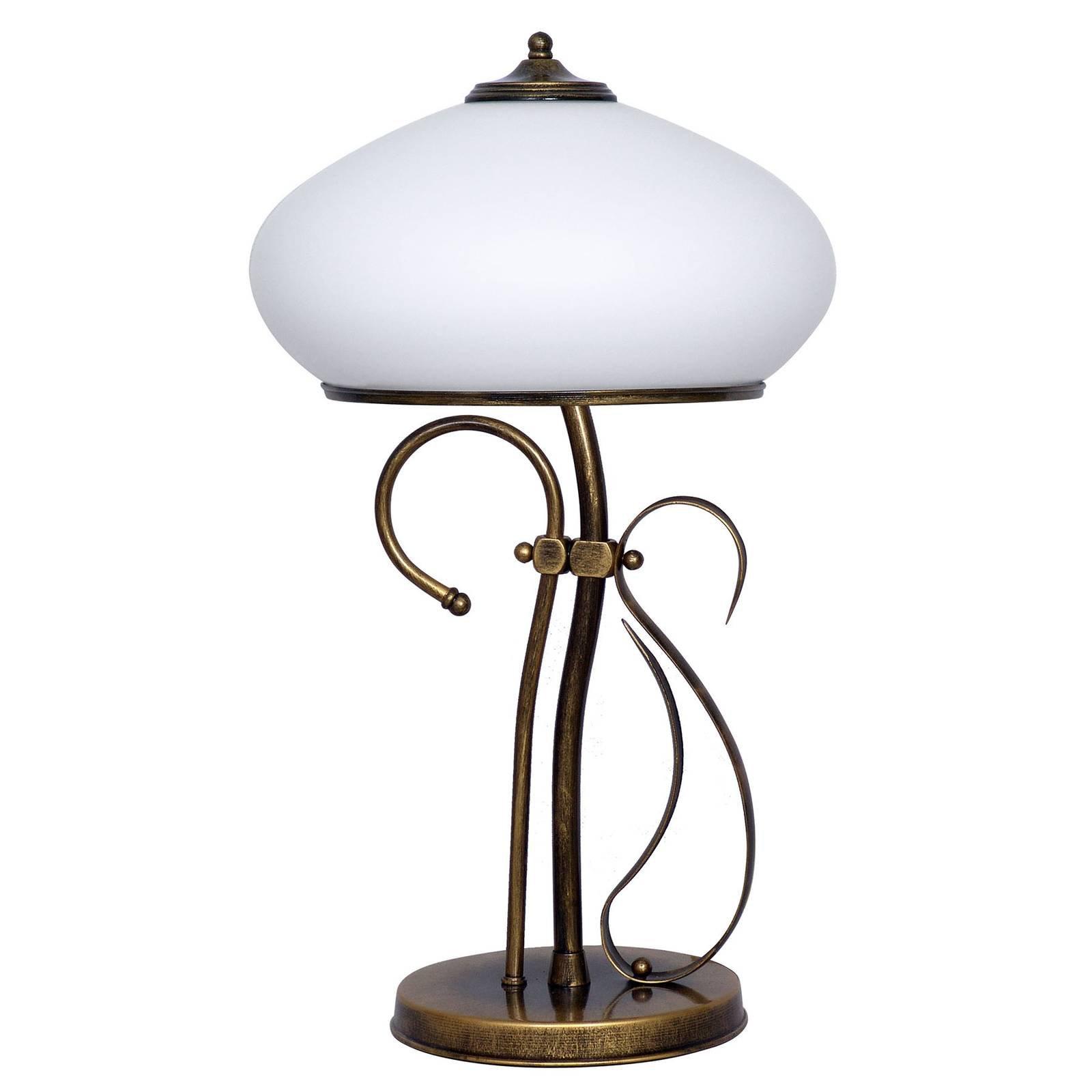 493 bordlampe, opalglass/antikk gull, høyde 60 cm