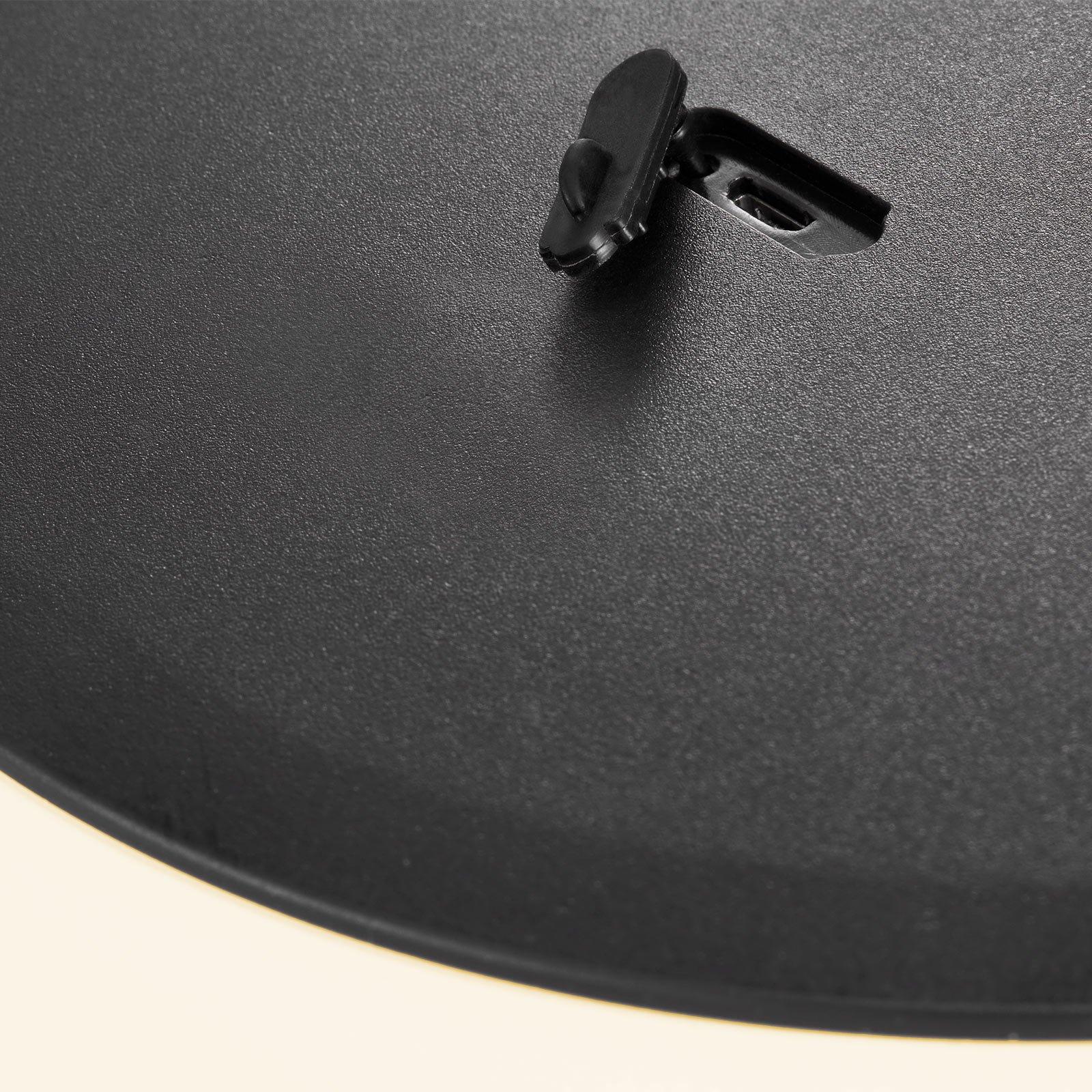 LED-bordlampe Kettle tripod, tre, skjerm 36 cm