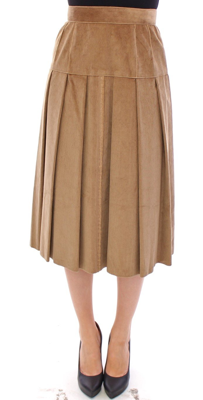Dolce & Gabbana Women's Leopard Corduroy Skirt Beige GSS11466-1 - IT38|XS