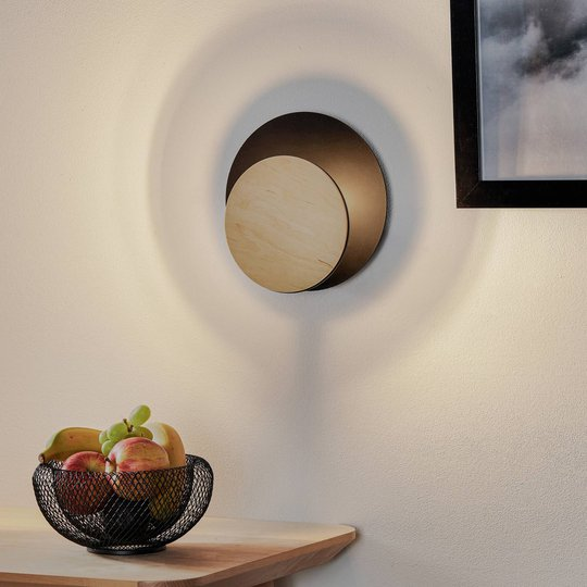Vegglampe Circle i svart med tre-dekorplate