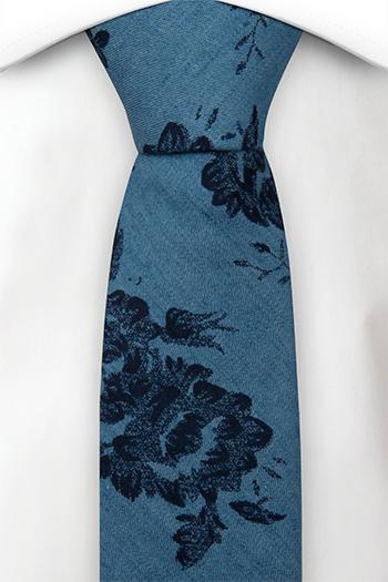 Bomull Smale Slips, Lyseblå denim med store, mørkeblå blomster, Blå, Blomster